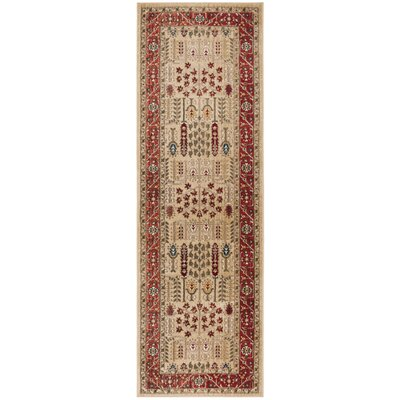 Margaux Red/Beige Area Rug Rug Size: Runner 26 x 8
