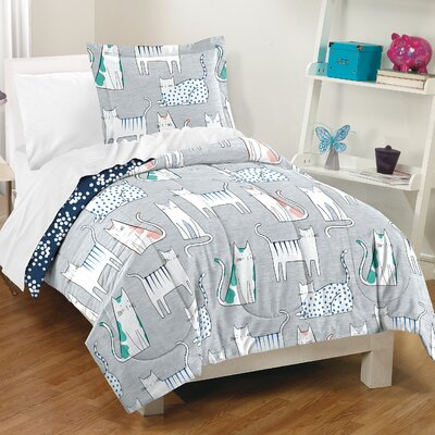 Lynne 100% Cotton 2 Piece Reversible Comforter Set Size: Twin
