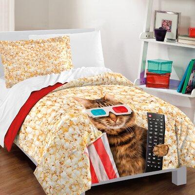 Cat 100% Cotton 2 Piece Reversible Comforter Set Size: Twin