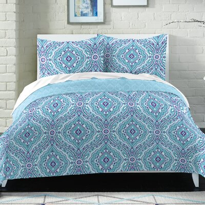 Collin 100% Cotton 2 Piece Reversible Comforter Set Size: Full/Queen