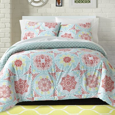 Erick 100% Cotton 2 Piece Reversible Comforter Set Size: Full/Queen
