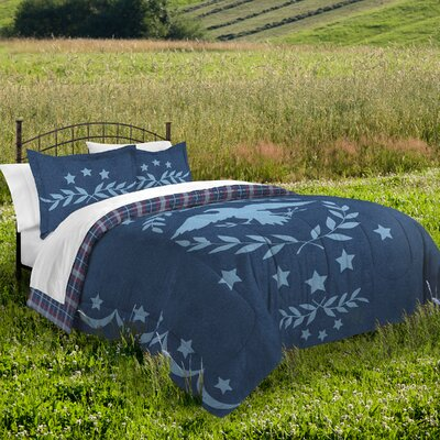 American Traditional 100% Cotton 2 Piece Reversible Comforter Set Size: Twin