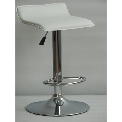 Wendolyn Adjustable Height Swivel Bar Stool Upholstery: White