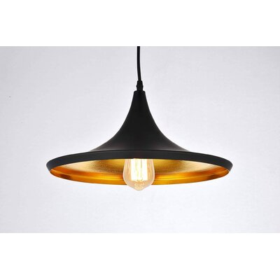 Remley 1-Light Inverted Pendant Finish: Black