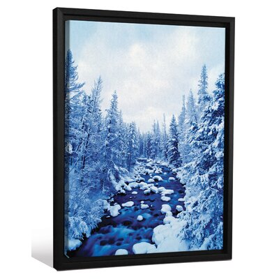'Scenic Winter Wonderland Snow Scape Trees' Framed Graphic Art Print on Canvas FCNV0036