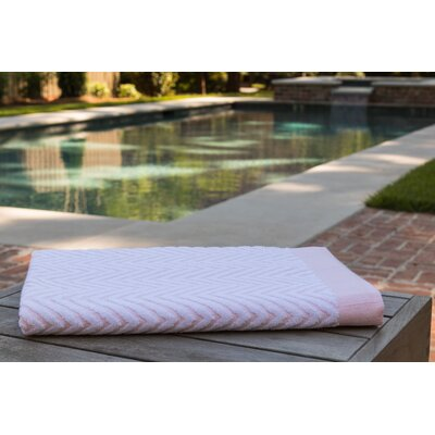 Chevron Jacquard Beach Towel Color: Peach