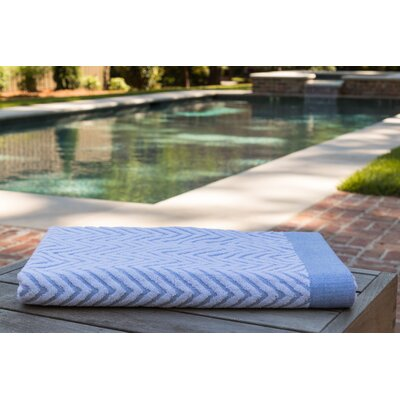 Chevron Jacquard Beach Towel Color: Porcelain Blue