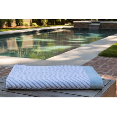 Chevron Jacquard Beach Towel Color: Seafoam