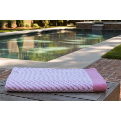 Chevron Jacquard Beach Towel Color: Coral