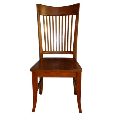 Tyrell Curved Spindle Back Solid Wood Dining Chair Color: Cherry Oak
