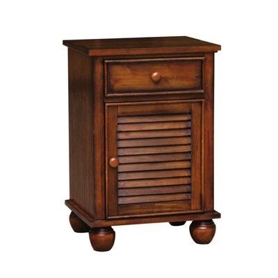 King Shutter Wood 1 Drawer Nightstand