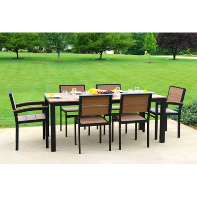 Katreesha Modern Outdoor Dining Set Color: Gloss Silver/Antique Mahogany