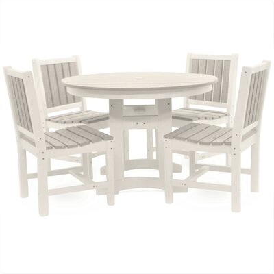 Osborn 5 Piece Dining Set Color: White with Driftwood