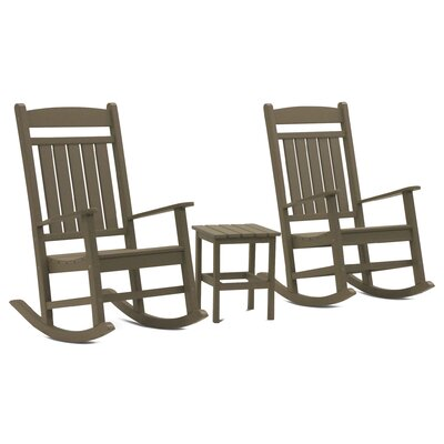 Vikram Classic Rocker 3 Piece Conversation Set Frame Finish: Weathered Wood