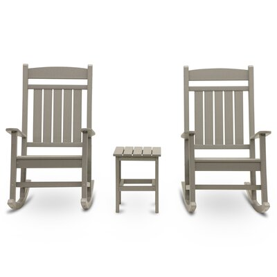 Vikram Classic Rocker 3 Piece Conversation Set Frame Finish: Light Gray