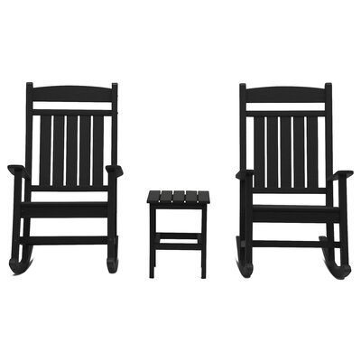 Vikram Classic Rocker 3 Piece Conversation Set Frame Finish: Black