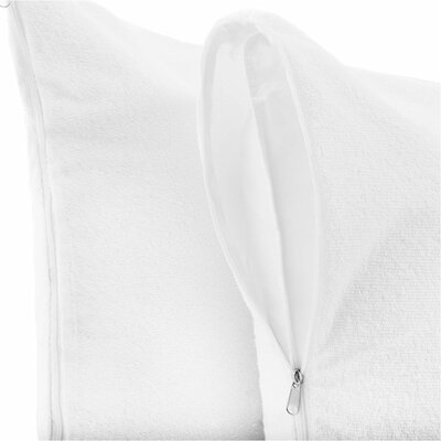 Premium Hypoallergenic 100% Waterproof Terry Cotton Zipped Pillow Protector Size: Standard