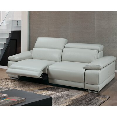 Strafford Electric Motion Genuine Leather Sofa Upholstery: Light Gray