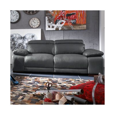 Strafford Electric Motion Genuine Leather Sofa Upholstery: Dark Gray