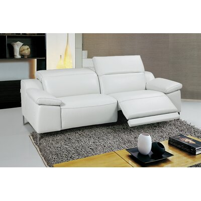 Dionne Electric Motion Genuine Leather Loveseat Color: White