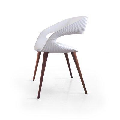 Nikhil Upholstered Dining Chair Upholstery Color: White, Leg Color: Wood