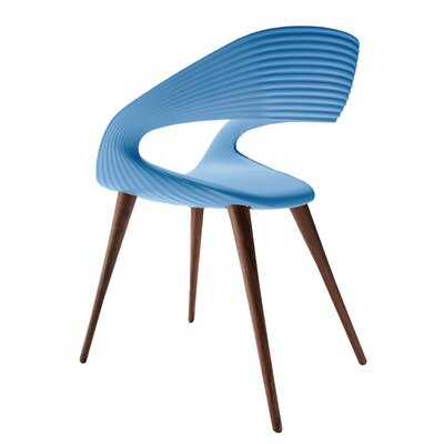 Nikhil Upholstered Dining Chair Upholstery Color: Blue, Leg Color: Wood