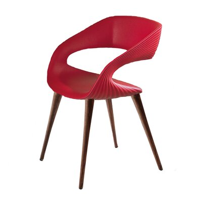 Nikhil Upholstered Dining Chair Upholstery Color: Red, Leg Color: Wood
