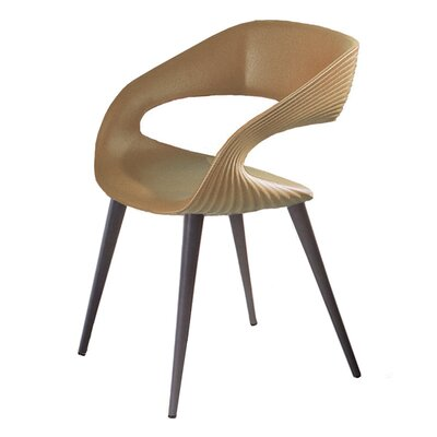 Nikhil Upholstered Dining Chair Upholstery Color: Tan, Leg Color: Anthracite