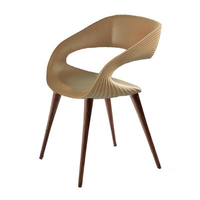 Nikhil Upholstered Dining Chair Upholstery Color: Tan, Leg Color: Wood