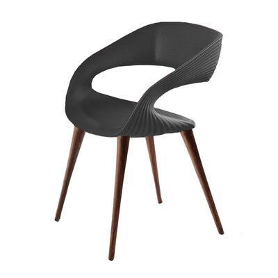 Nikhil Upholstered Dining Chair Upholstery Color: Anthracite, Leg Color: Wood