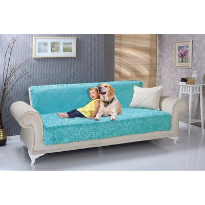 Anti Slip Armless Acacia Shield Futon Couch Pet Polyester Sofa Slipcover Upholstery: Turquoise