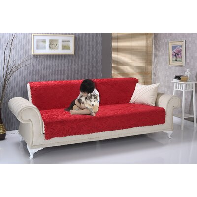 Anti Slip Armless Acacia Shield Futon Couch Pet Polyester Sofa Slipcover Upholstery: Red