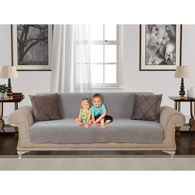 Anti Slip Armless Diamond Shield Box Cushion Sofa Slipcover Upholstery: Light Taupe