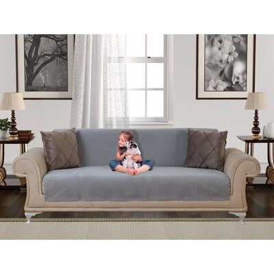 Anti Slip Armless Diamond Shield Box Cushion Sofa Slipcover Upholstery: Gray