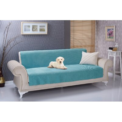 Anti Slip Armless Diamond Shield Futon Couch Pet Polyester Sofa Slipcover Upholstery: Turquoise