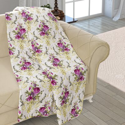 Beauville Double Sided Multi Use Reversible Summer Bouquet Quilt Blanket Color: White/Purple