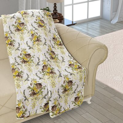 Beauville Double Sided Multi Use Reversible Summer Bouquet Quilt Blanket Color: White/Yellow