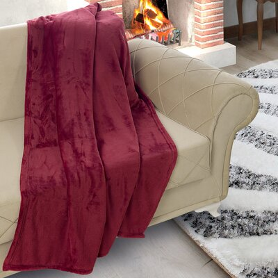 Matthieu Flannel Ultrasoft Plush Throw Color: Burgundy
