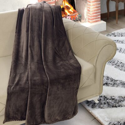 Matthieu Flannel Ultrasoft Plush Throw Color: Chocolate Brown