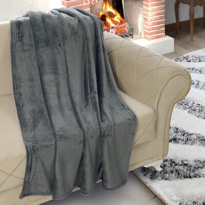Matthieu Flannel Ultrasoft Plush Throw Color: Smoke