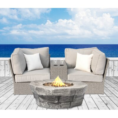 Winsford Fire Pit 4 Piece Sofa Set with Cushions