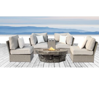 Winsford Fire Pit 6 Piece Sofa Set with Ultrasoft Cushions