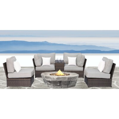 Simmerman Fire Pit 6 Piece Sofa Set with Cushions