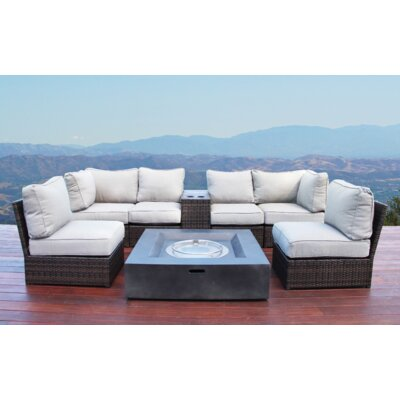 Simmerman Fire Pit 8 Piece Sectional Set with Cushions