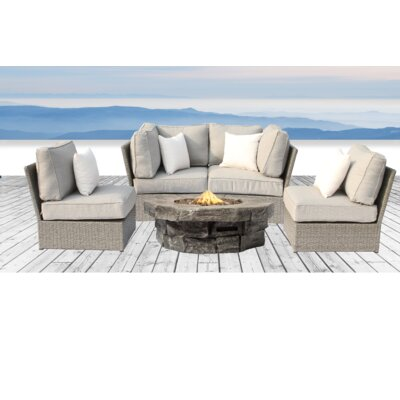 Winsford Fire Pit 5 Piece Sofa Set with Cushions