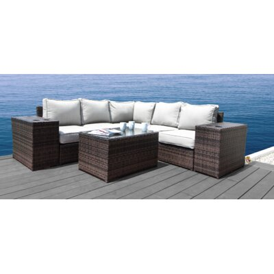 Simmerman 8 Piece Rattan Sectional Set with Cushions