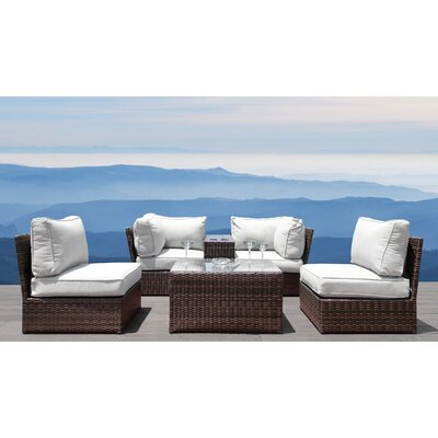 Vasil 6 Piece Rattan Sectional Set with Cushions