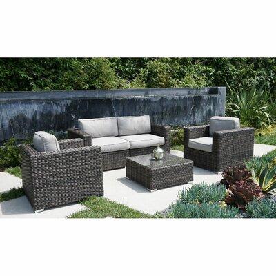 Nolen 5 Piece Rattan Sofa Set with Cushions