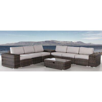 Nolen 10 Piece Rattan Sectional Set with Cushions LTTN4441 45242889