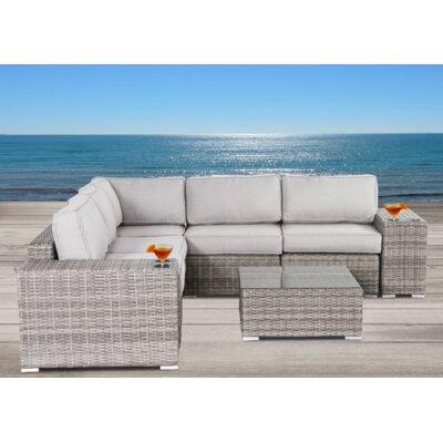 Vardin 8 Piece Rattan Sectional Set with Cushions 2A812659FA154971AC6A28ABC800A495